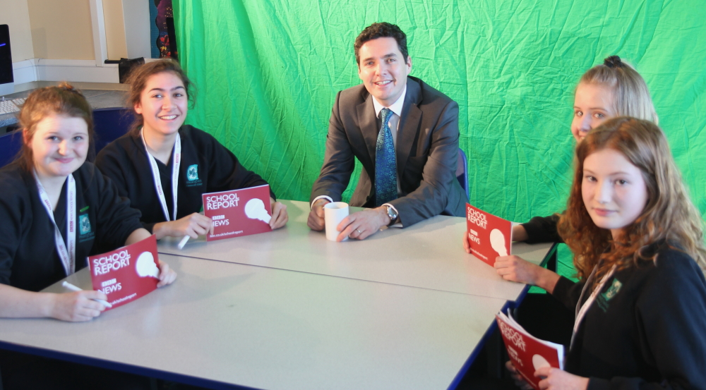 HCC students interview Huw Merriman MP for BBC School News Report. Check back on Thursday 10th March to see the full video package.