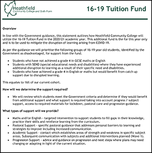 16-19 TUITION FUNDING STATEMENT